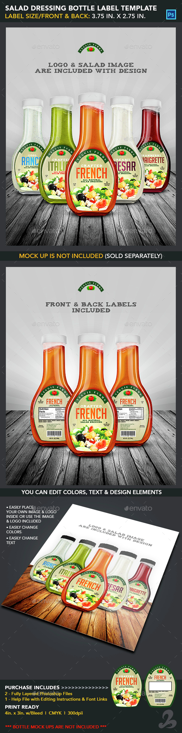 Salad Dressing Bottle Label Templates - Packaging Print Templates