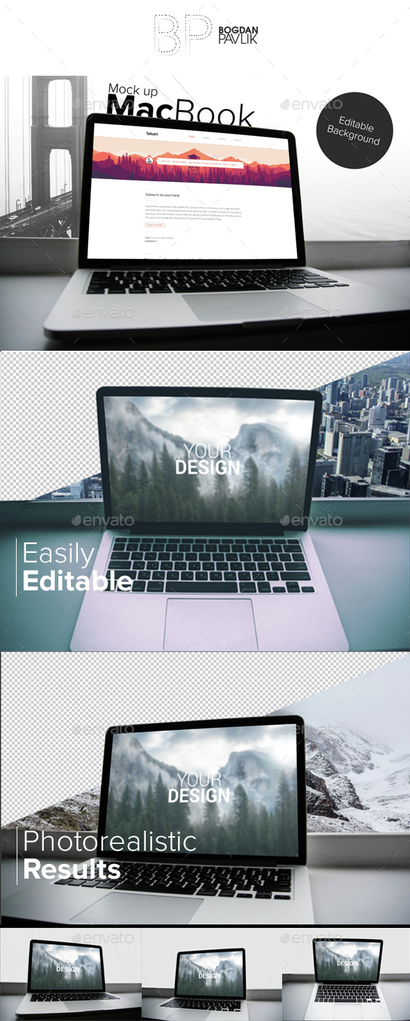 3 psd | MacBook Mock up - editable background - Product Mock-Ups Graphics