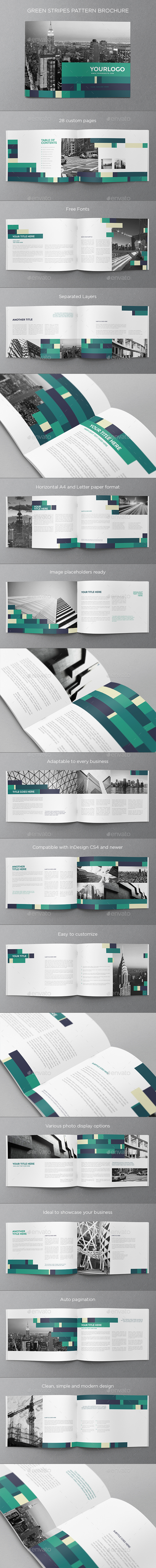 Green Stripes Pattern Brochure - Brochures Print Templates
