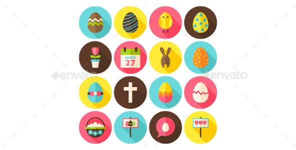Happy Easter Vector Flat Icons - Seasonal Icons