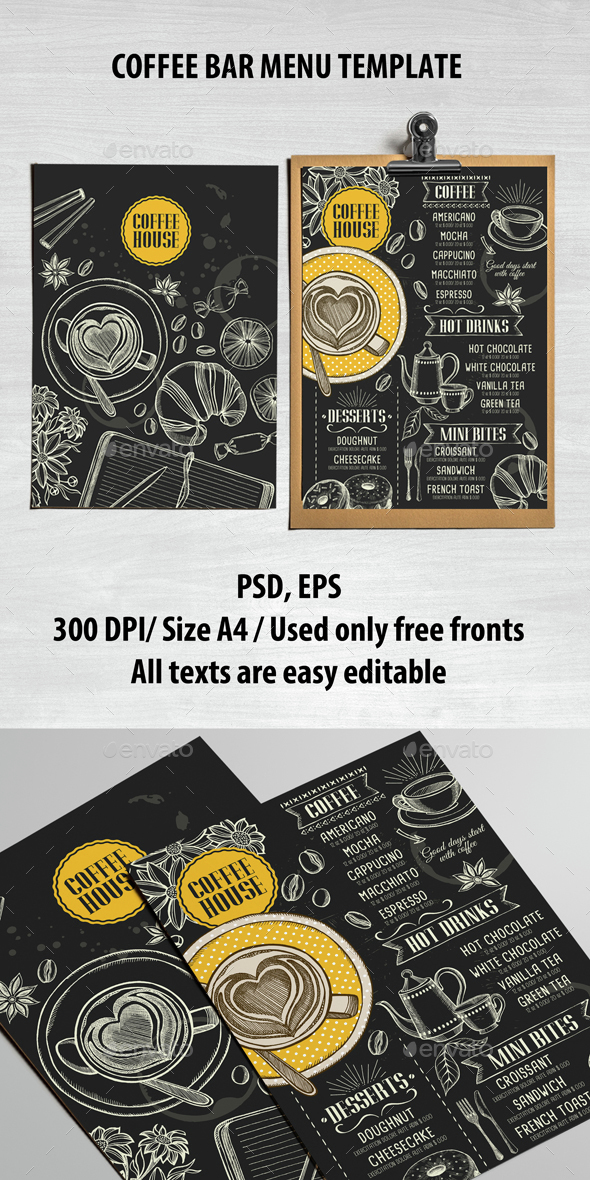Coffee Bar Menu Template - Food Menus Print Templates