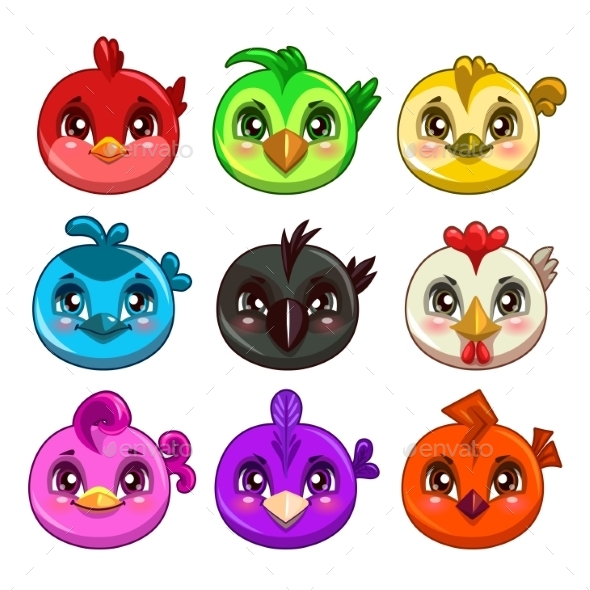 Cartoon Colorful Round Birds - Animals Characters