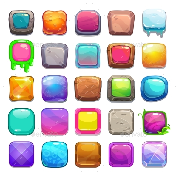 Set of Cartoon Square Buttons - Web Technology