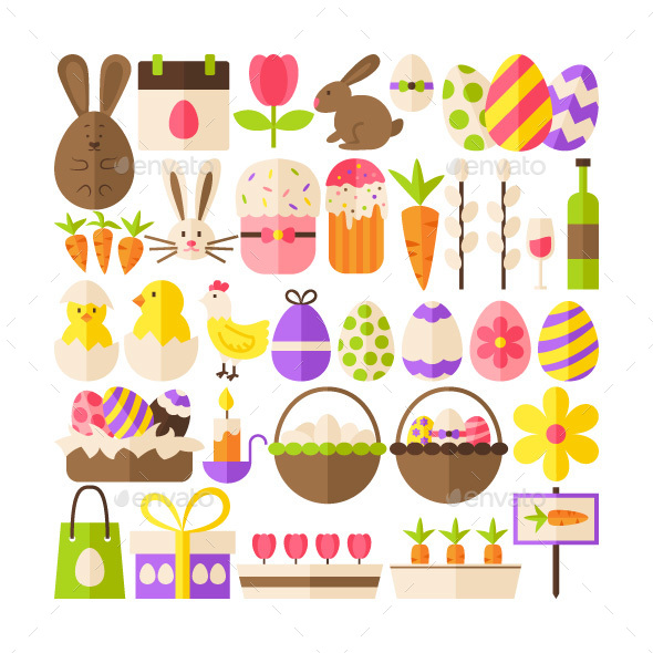 Happy Easter Flat Isolated Objects - Miscellaneous Seasons/Holidays