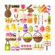 Happy Easter Flat Isolated Objects - GraphicRiver Item for Sale
