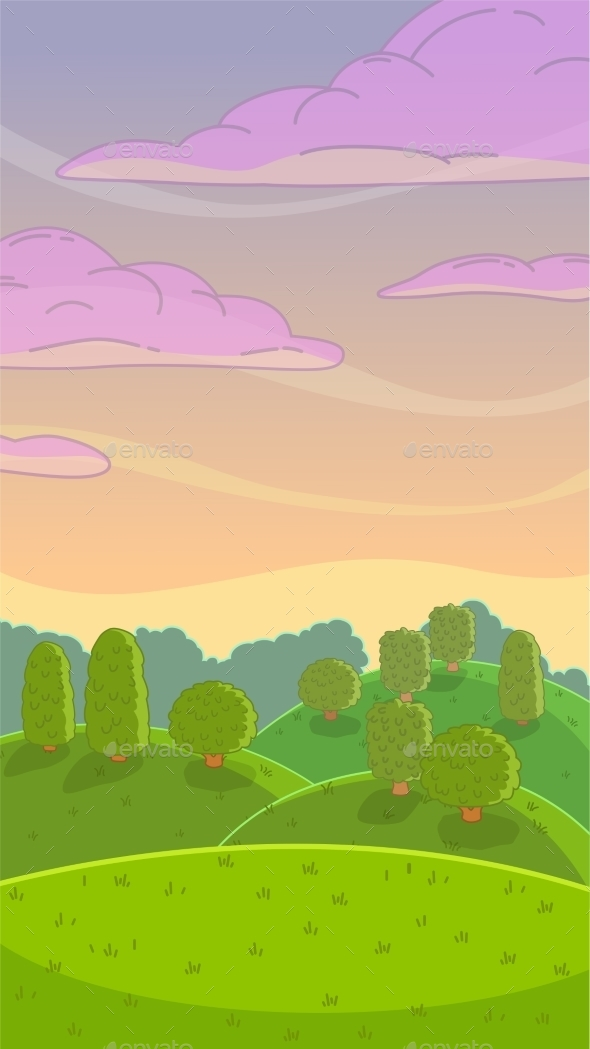 Cartoon Evening Nature Landscape - Landscapes Nature
