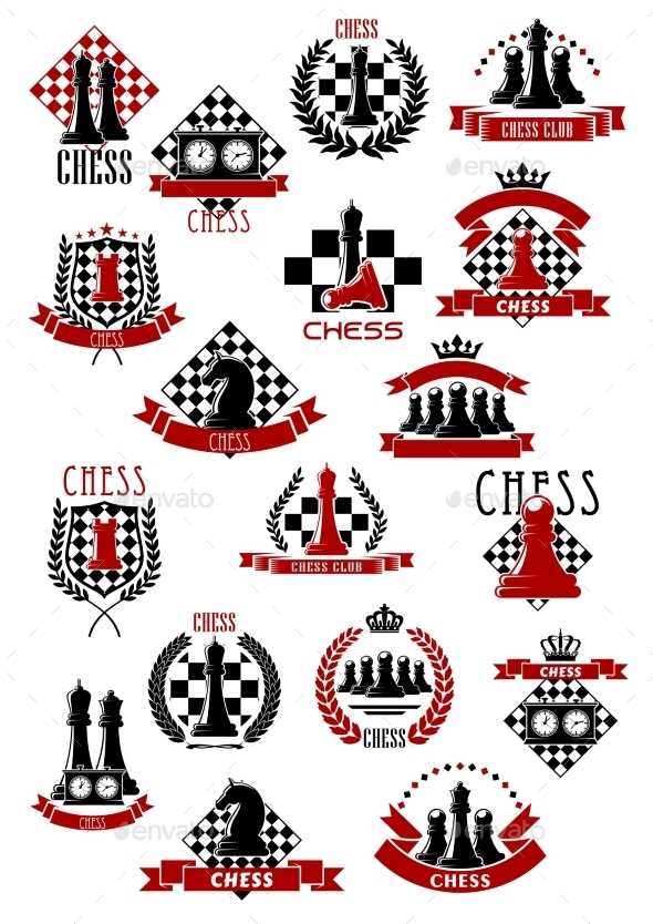 Chess Game Icons with Chessboards and Pieces - Sports/Activity Conceptual
