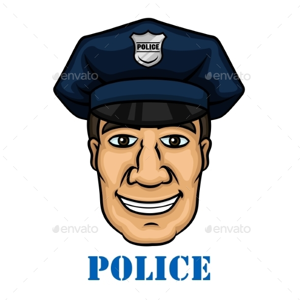 Happy Police Officer in Blue Uniform - People Characters