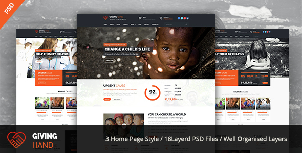GIVINGHAND – Charity & Fundraising  PSD Template