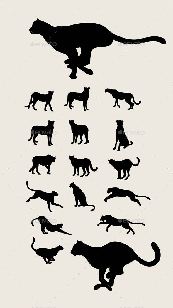 Cheetah Set Silhouettes - Animals Characters