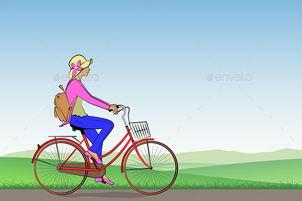 Girl on a Bicycle - Miscellaneous Vectors