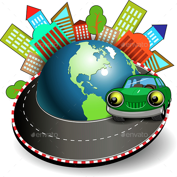 Green Car Travel - Travel Conceptual