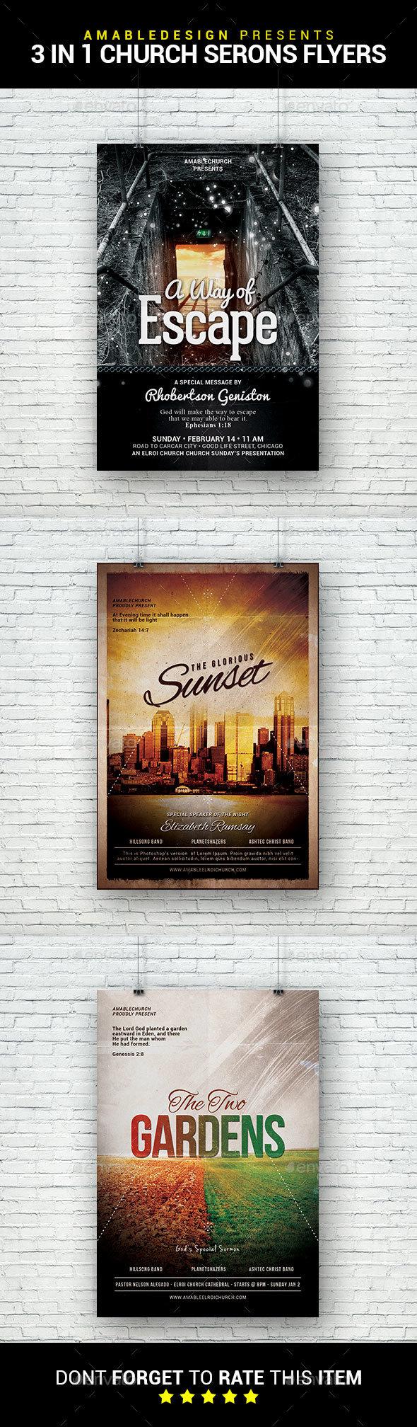 3 in 1 Church Sermons Flyer/Poster Bundle - Church Flyers