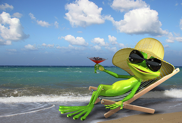 Frog in a deckchair on the beach - Characters 3D Renders