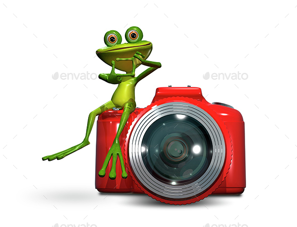 Frog on camera - Technology 3D Renders