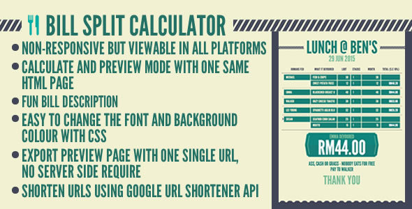 Bill Split Calculator - CodeCanyon Item for Sale