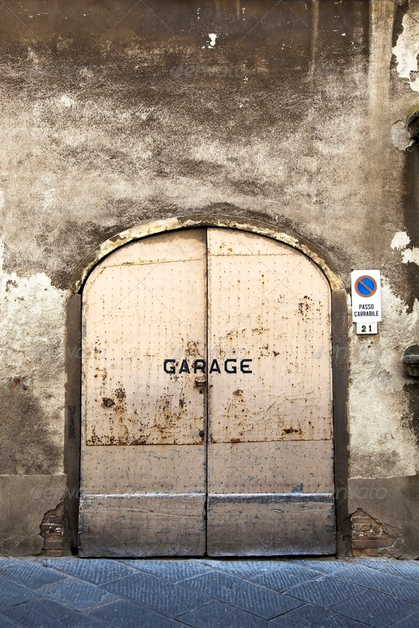 Rusty garage door - Stock Photo - Images