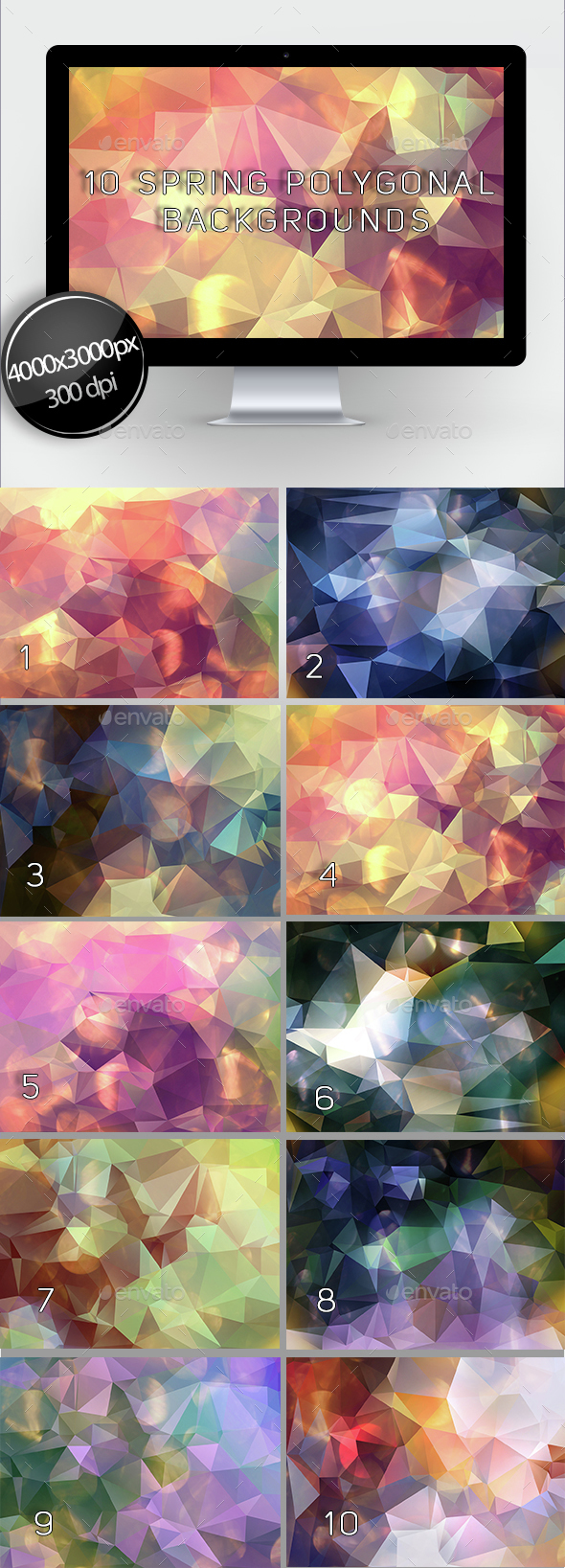 10 Spring Polygonal Backgrounds - Abstract Backgrounds