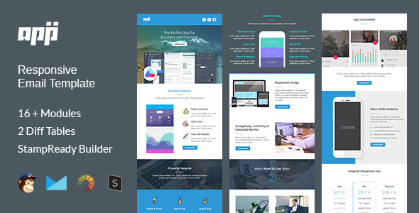 APP – Multipurpose Responsive Email Template + Stampready Builder