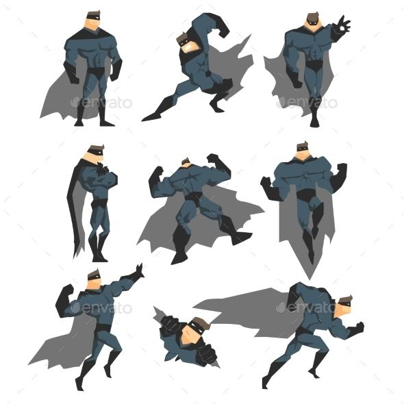 Superhero Actions Set in Comics Style - People Characters
