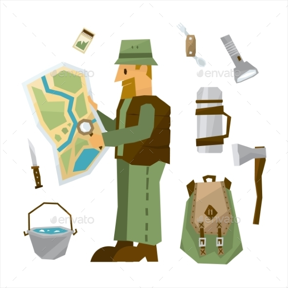 Hiking Equipment Illustration Set - Travel Conceptual