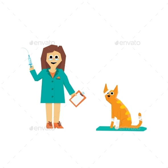 Cartoon Veterinarian with a Cat - Health/Medicine Conceptual