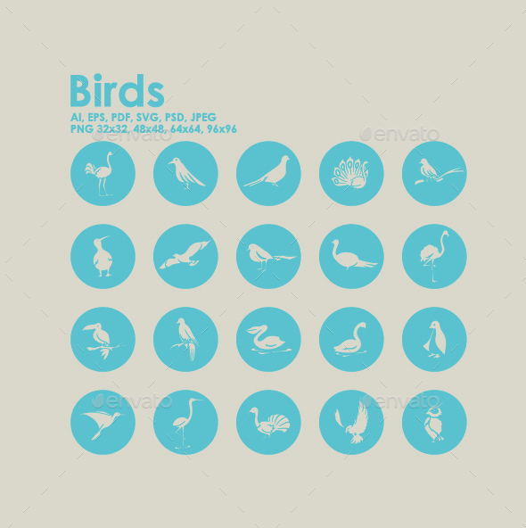 20 Birds icons - Animals Characters