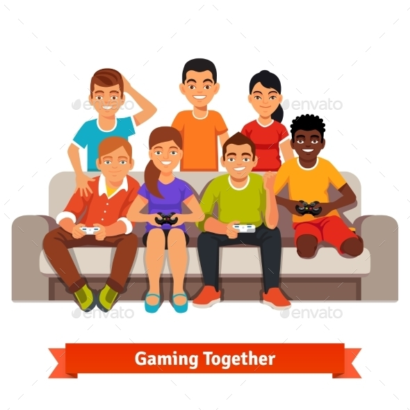 Group of Teen Friends Having a Video Games Party - People Characters