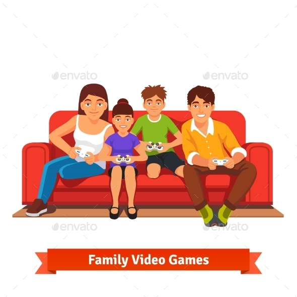 Family Playing Video Games Together - People Characters