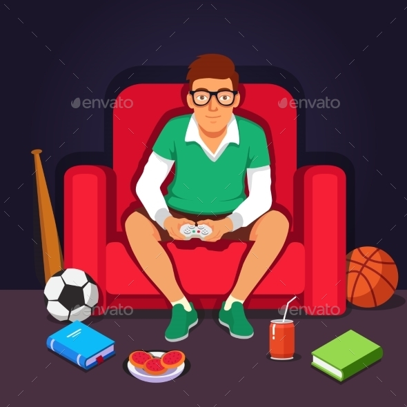 Young College Student Hipster Playing Video Games - People Characters