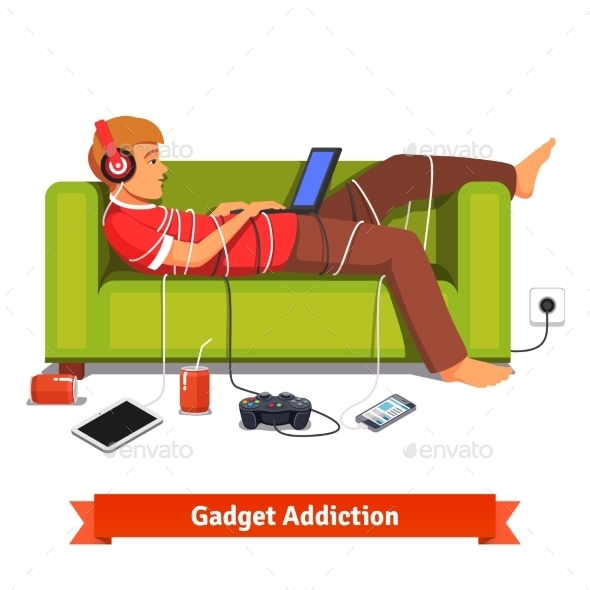 Lazy Teen Student Lying Down with Laptop - People Characters