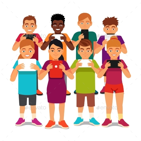 Group of Kids Looking into Their Tablets - People Characters