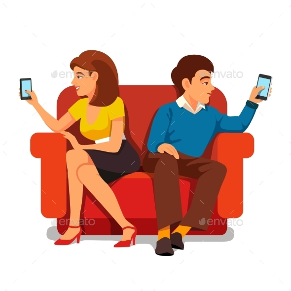 Smartphone Addiction Family Relationship - People Characters