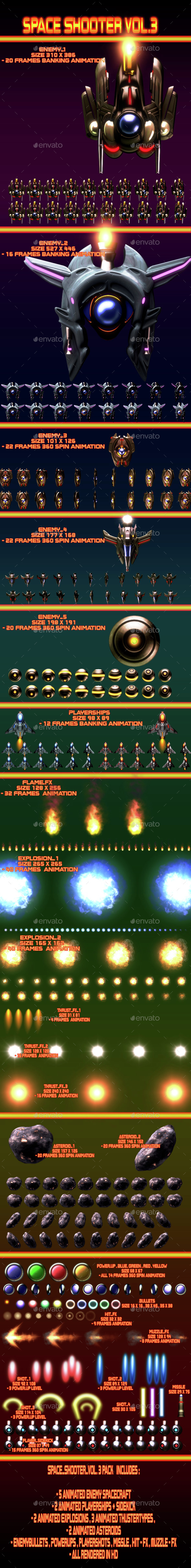 Space Shooter Vol.3 - Sprites Game Assets