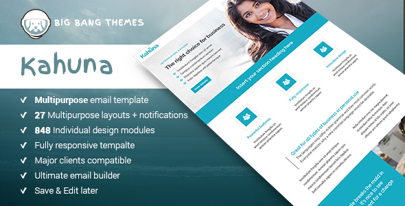 Kahuna – Giant Multipurpose Email + Builder Access