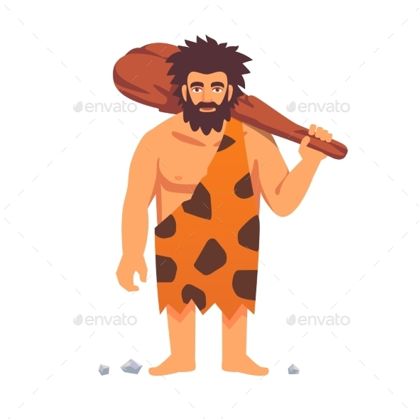 Stone Age Primitive Man in Animal Hide Pelt - People Characters