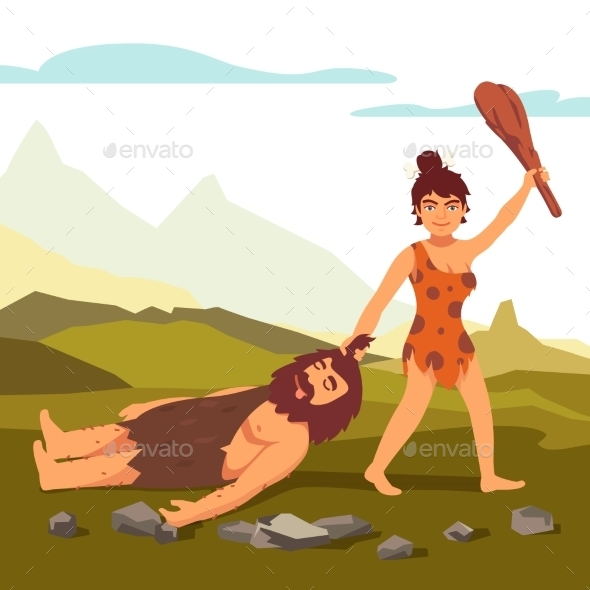 Stone Age Primitive Woman Dragging Bearded Man - People Characters