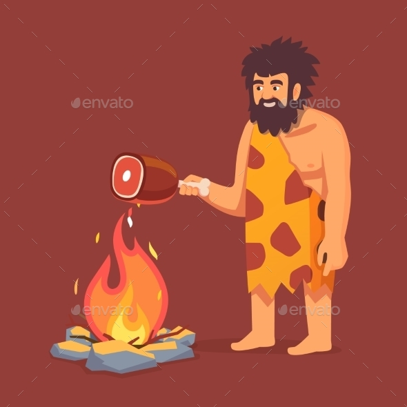 Stone Age Primitive Man in Animal Hide Pelt - People Characters