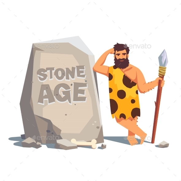 Big Tablet Rock With Leaning Caveman - People Characters