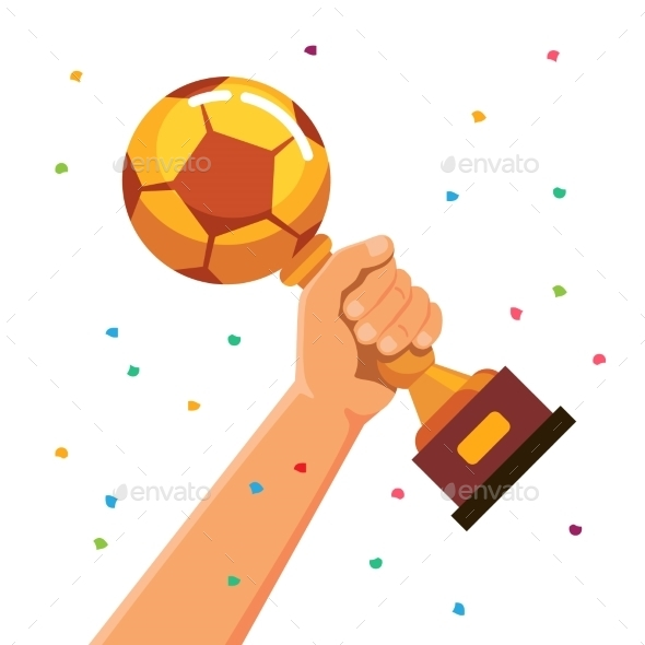 Winner Team Player Holding Soccer Cup Trophy - Sports/Activity Conceptual