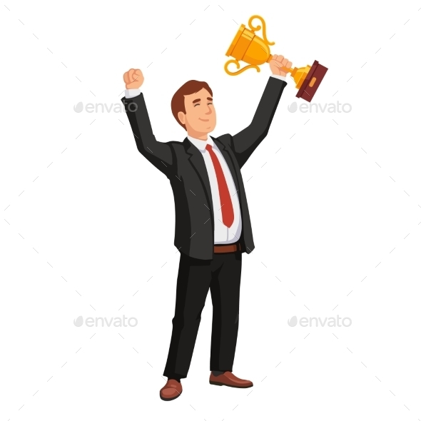 Celebrating Businessman Holding Winner Cup Trophy - People Characters