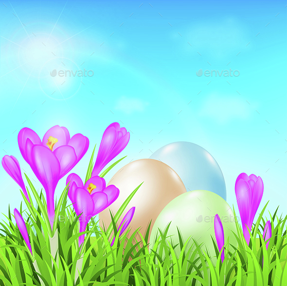 Easter Card with Eggs and Crocuses - Miscellaneous Seasons/Holidays