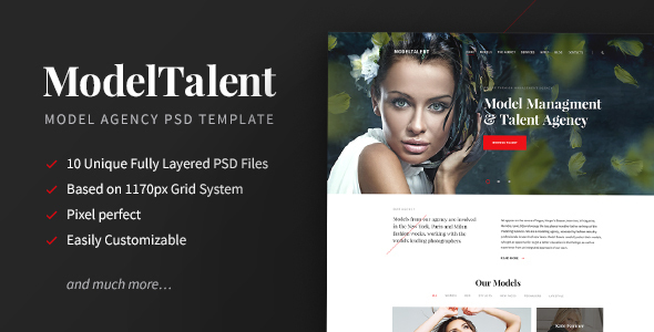 ModelTalent — Model Agency PSD Template - Fashion Retail