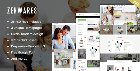 Zenwares - Multi-Purpose eCommerce PSD Template - Retail PSD Templates