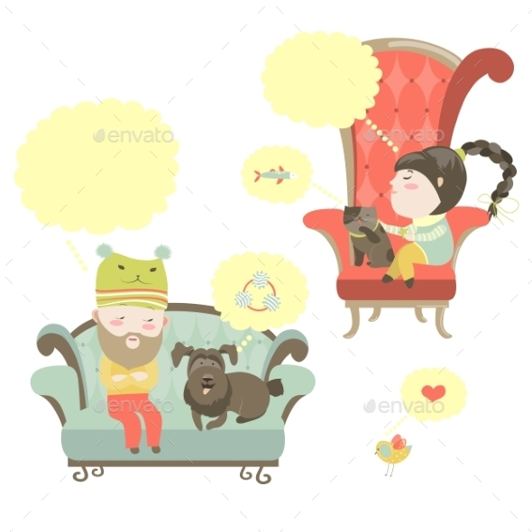 People and Their Pets with Speech Bubble - Animals Characters