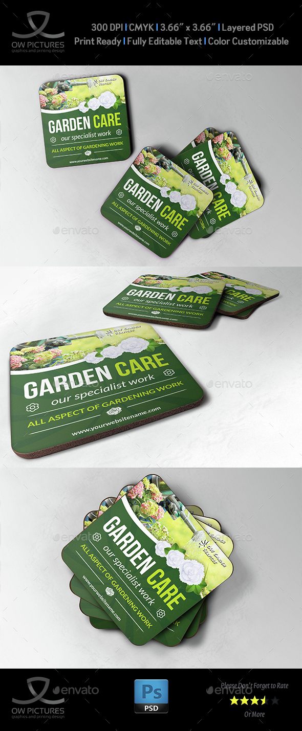 Garden Services Coaster Template - Miscellaneous Print Templates