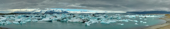 Panorama of the Jokulsarlon lagoon - Stock Photo - Images