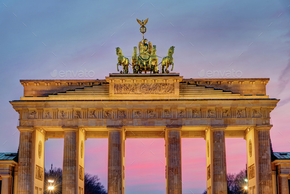 The Brandenburg Gate after sunset - Stock Photo - Images