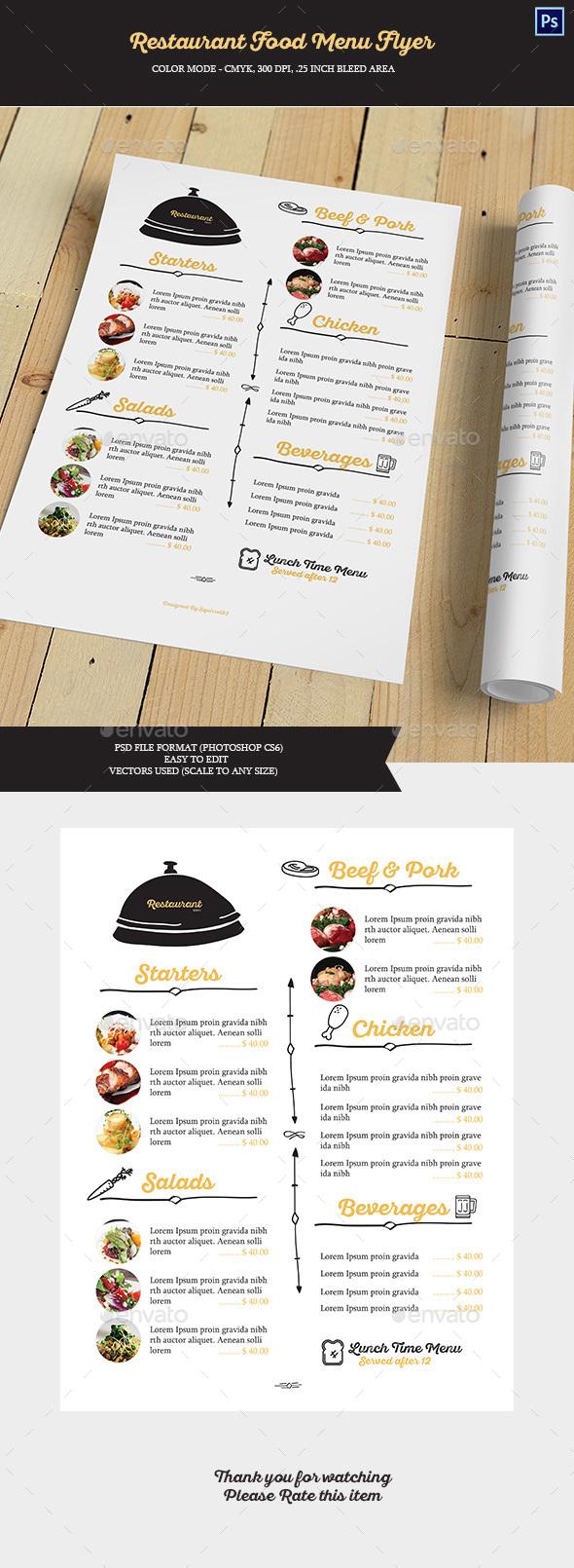 Restaurant Food Menu Flyer - Food Menus Print Templates