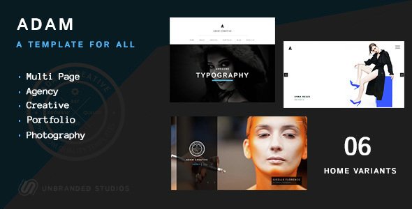 ADAM – CREATIVE MULTI PAGE PORTFOLIO TEMPLATE